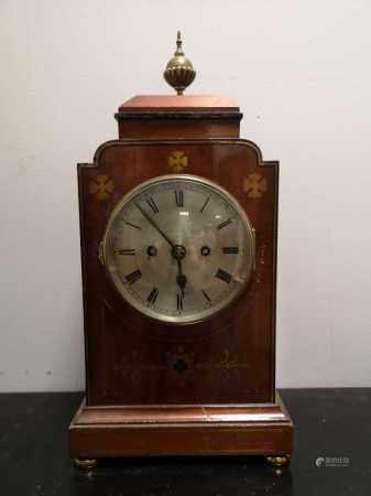 A mahogany and brass inlaid mantel clock circa 1900,