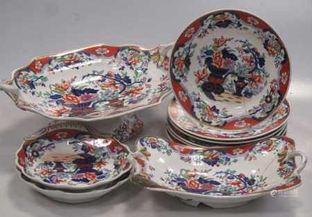 A Spode ironstone part desser service, floral decoration in colours, 14 pieces, some damage; also