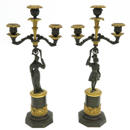 A Pair of 19th Century Empire Candelsticks