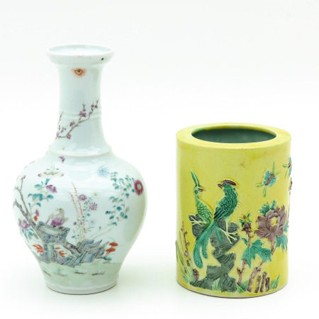 A Famille Rose Vase and Brush Pot
