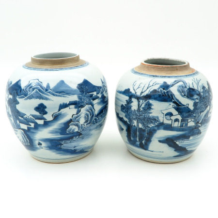 A Pair of Blue and White Ginger Jars