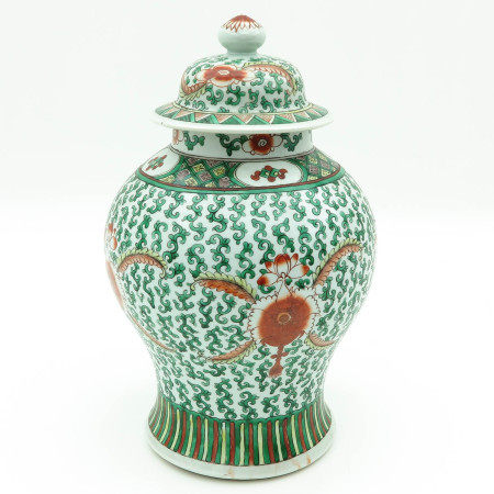 A Polychrome Temple Jar with Cover