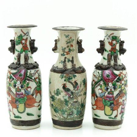 A Set of Three Nanking Vases
