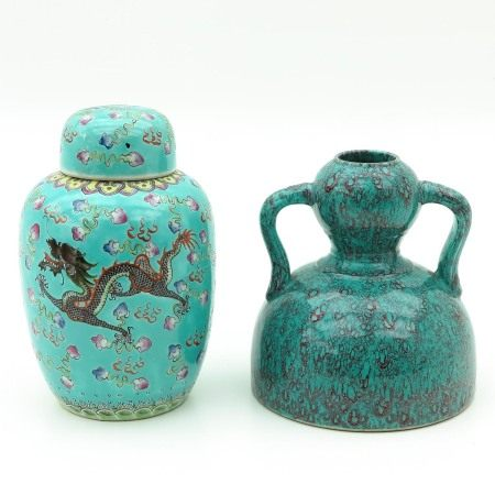A Robin's Egg Decor Vase and Ginger Jar