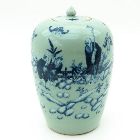A Celadon and Blue Ginger Jar
