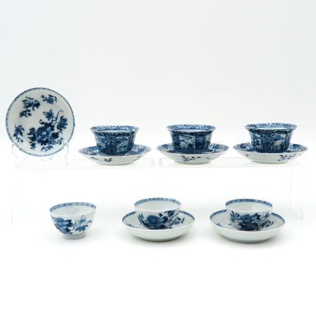 A Collection of Six Cups and Saucers