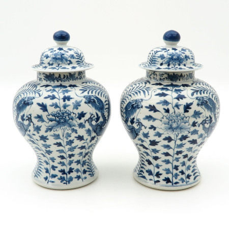 A Pair of Temple Jars with Covers