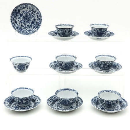 A Series of Eight Cups and Saucers