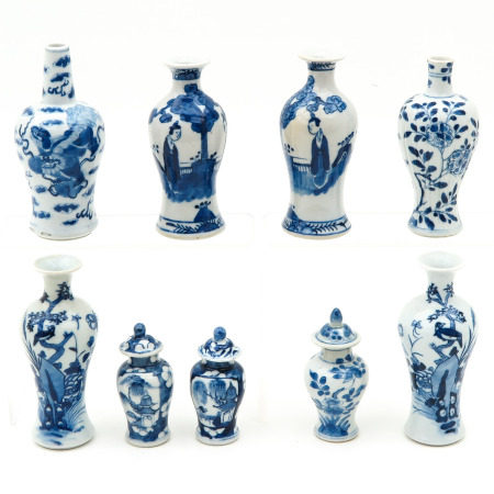A Collection of 9 Miniature Vases