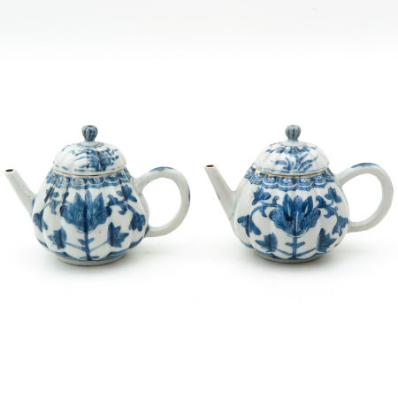 Two Blue and White Teapots