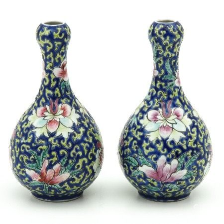 A Pair of Floral Decor Vases