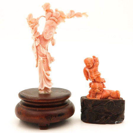 Two Carved Coral Scultptures