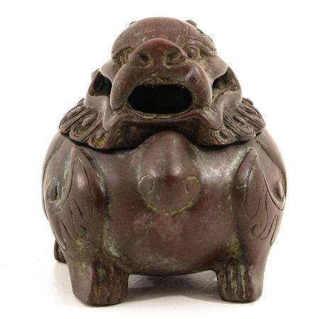 A Bronze Temple Lion Censer