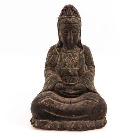 A Carved Wood Buddha Sculpture