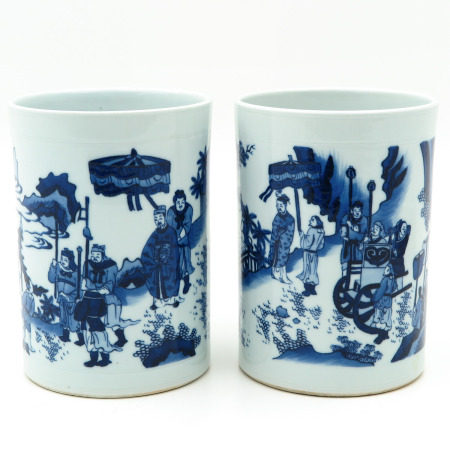 A Pair of Blue and White Brush Pots