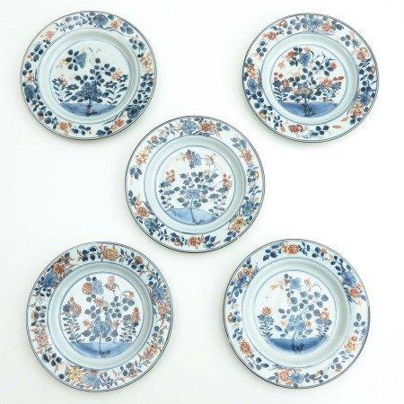 A Series of Five Imari Plates
