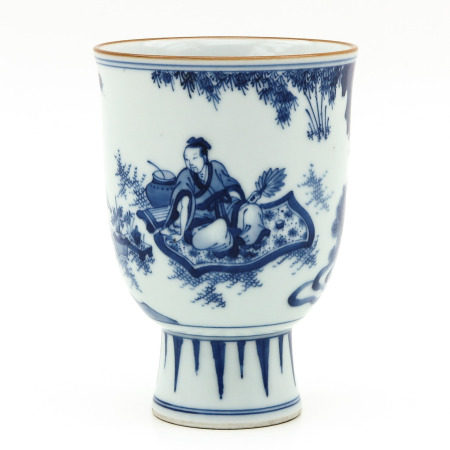 A Blue and White Stem Cup