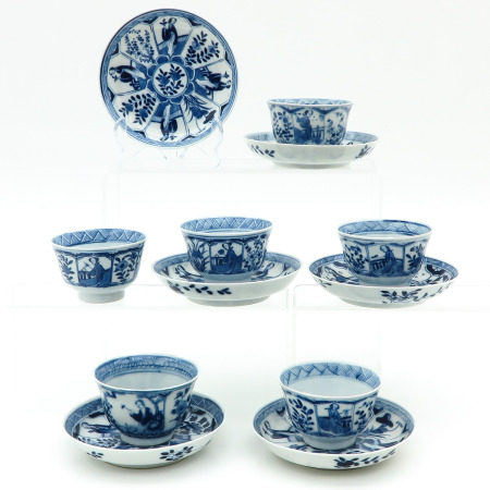 Twelve Blue and White Cups and Saucers