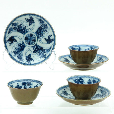 Three Batavianware Cups and Saucers
