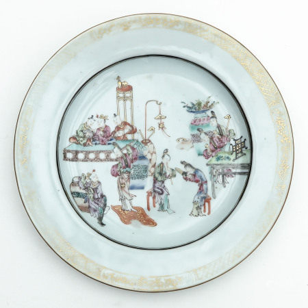 A Famille Rose and Gilt Plate
