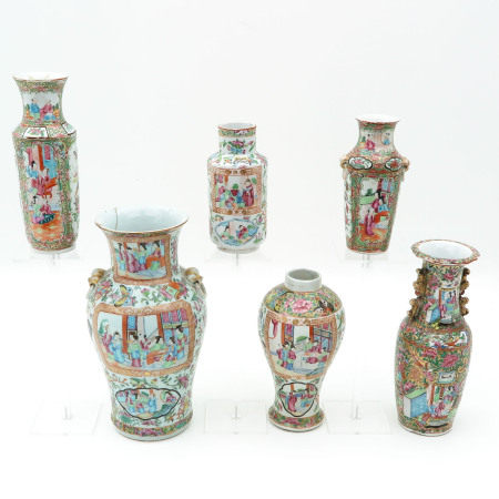 A Collection of Six Cantonese Vases