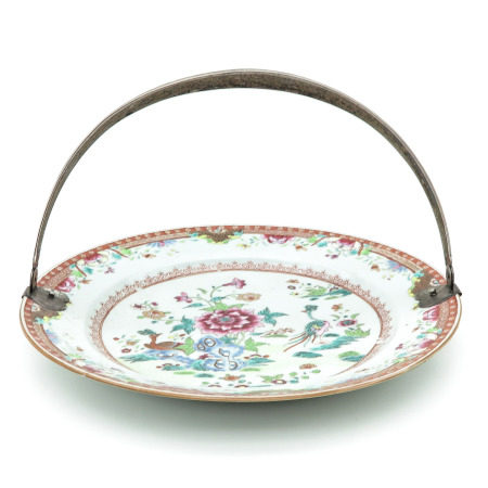 A Famille Rose Charger with Handle