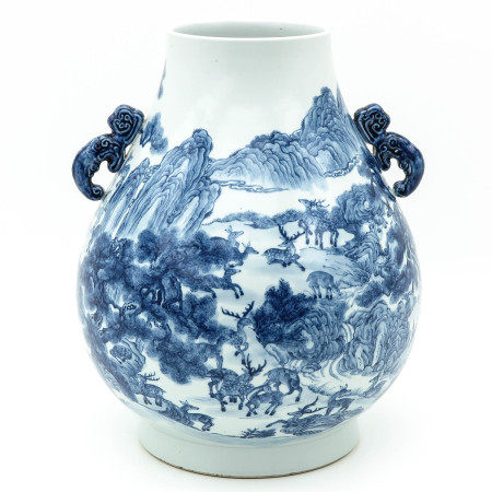 A Large Blue and White Hu Vase