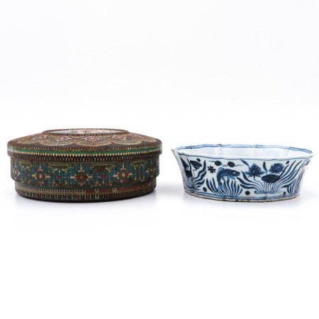 A Blue and White Dish and box