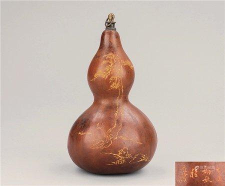 清代(1644-1911) 程庭鹭款 刻松下髙士纹老葫芦