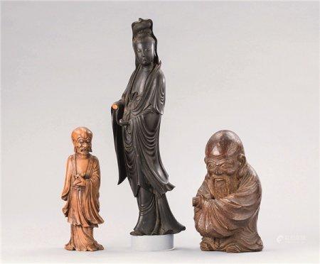 清代(1644-1911) 竹雕寿星 黄杨木雕罗汉 桂圆木雕观音菩萨立像 三尊