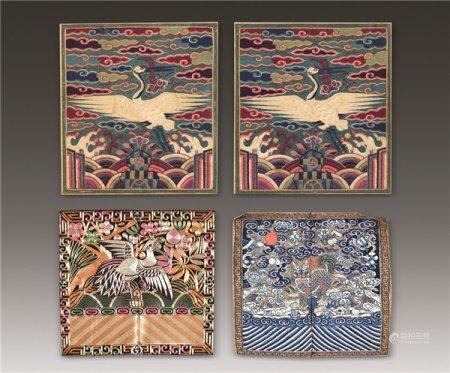 清代(1644-1911) 各式海水麒麟纹 僊鹤纹等补子 一批