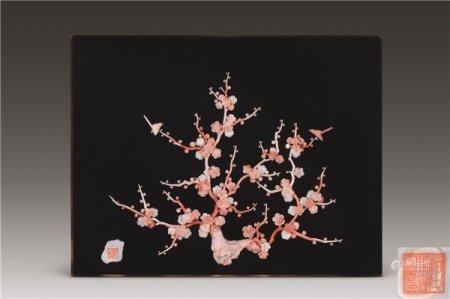 珊瑚制梅花挂屏