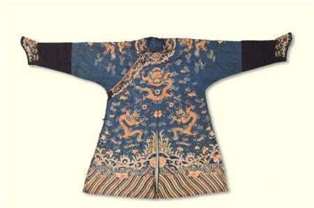 清代(1644-1911) 蓝地金线龙袍