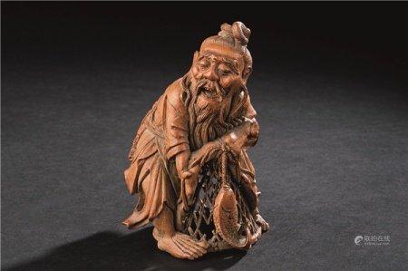 清代(1644-1911) 竹雕渔翁像