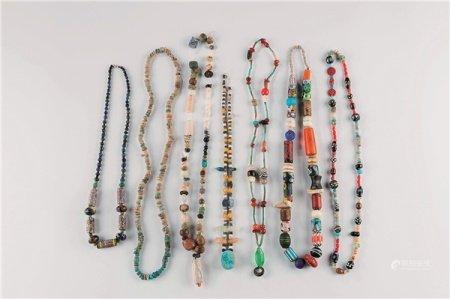 各式古琉璃珠项链 (七件一组)