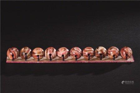 清代(1644-1911) 鹤顶红珠 (十件一组)