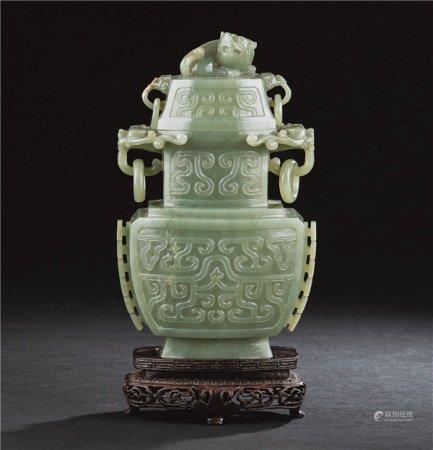 民国(1912-1949) 碧玉螭龙纹狮钮盖瓶