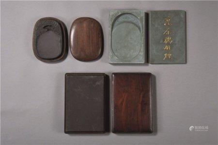 清代(1644-1911) 各式祥云纹 素面端砚 (三件一组)