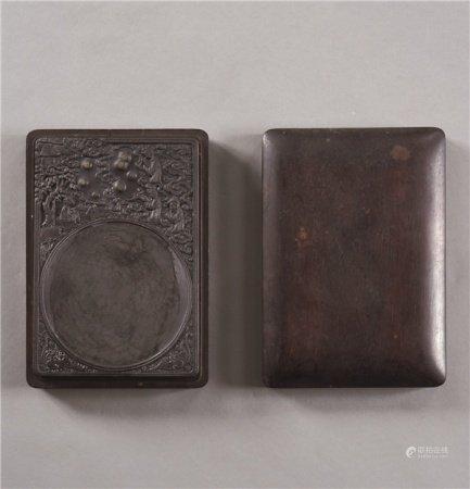 端石雕群僊图纹砚