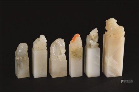 各式高山冻石雕瑞兽钮印材 (六件一组)