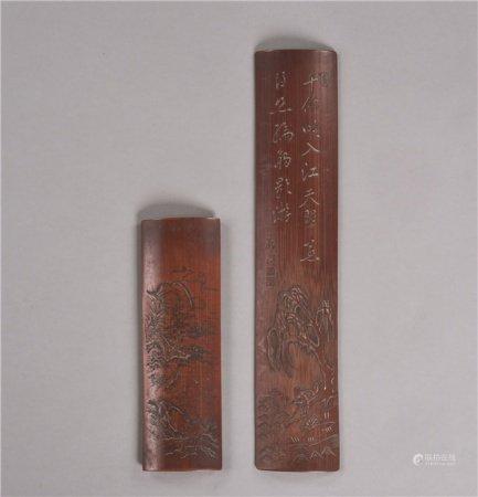 清代(1644-1911) 竹刻垂钓纹 山水纹臂搁 (二件一组)