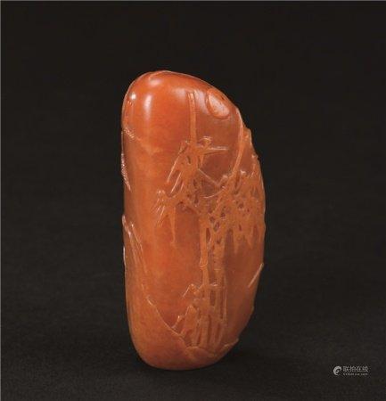 清代(1644-1911) 田黄石薄意雕竹石纹印材