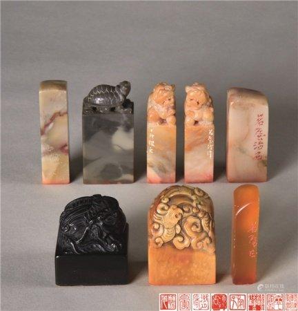 陈茗屋 各式寿山石雕瑞兽钮 寿龟钮印章 (八件一组)