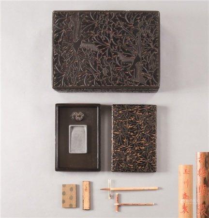 剔黑凤凰牡丹纹长方砚盒 (一批)