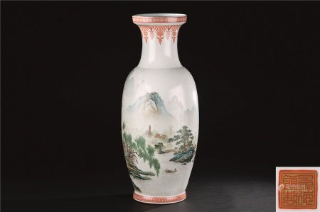 80年代 粉彩山水纹大瓶