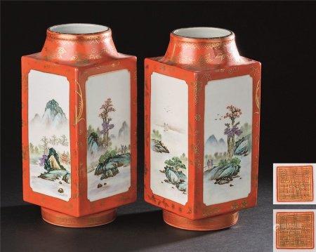 50-70年代 粉彩开光山水纹四方瓶 (一对)