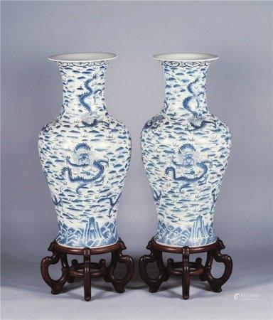 50-70年代 蓝彩江崖海水龙纹大瓶 (一对)