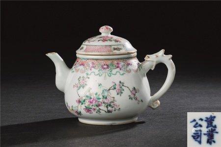民国作 粉彩花鸟纹茶壶