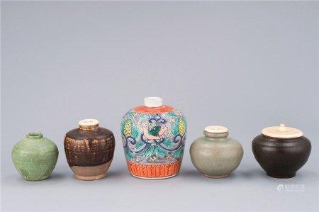 宋代-明代作 各式青瓷 黑釉 五彩凤纹小罐 (五件一组)