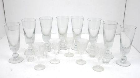 A collection of seven tall 19th century style flutes, 19cm high together with four rummer type